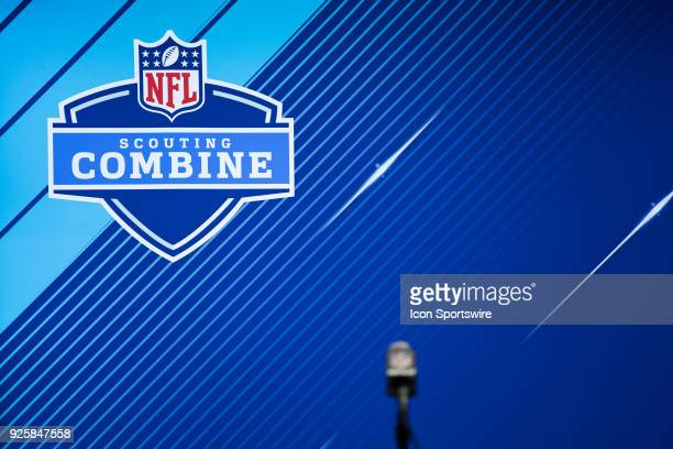 An empty podium before day 2 of interviews at the NFL Scouting Combine on March 1 2018 at the Indiana Convention Center in Indianapolis IN