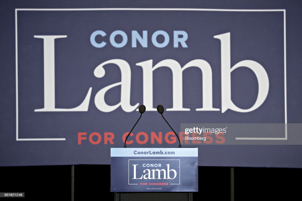 An empty podium stands ahead of an election night rally with Conor Lamb, Democratic candidate for the U.S. House of Representatives, not pictured, in Canonsburg, Pennsylvania, U.S., on Tuesday, March 13, 2018. Lamb and Republican Rick Saccone are competing in the 18th District, where President Donald Trump won by almost 20 points in the 2016 presidential election, to replace Republican Tim Murphy who resigned last October amid personal scandal. Photographer: Andrew Harrer/Bloomberg via Getty Images