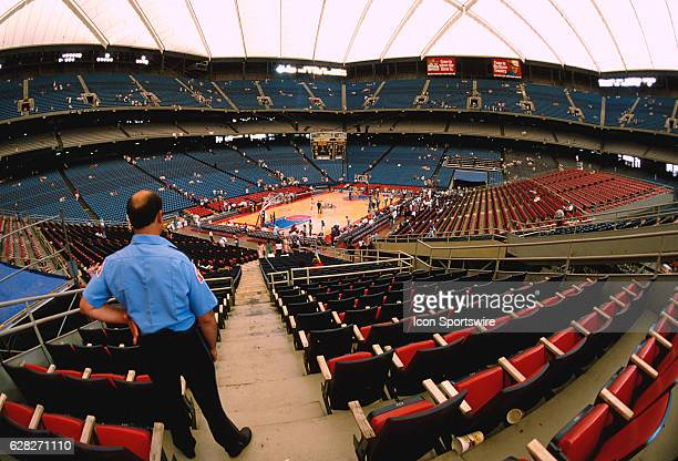 An empty Pontiac Silverdome as prepareations are made for the Los Angeles Lakers game versus the Pistons in the 1988 NBA Finals in Pontiac MI