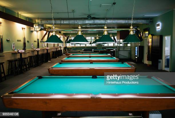 An empty pool hall filled with clean tables