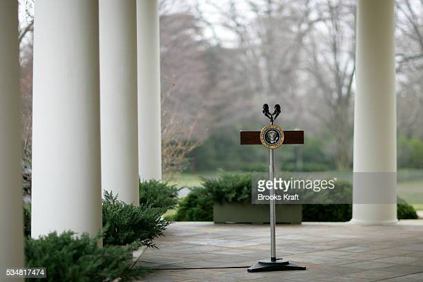 An empty presidential podium at the West Wing colonnade of the White House in Washington DC