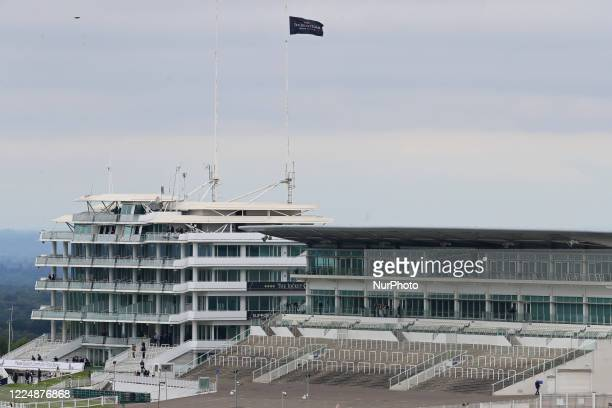 An empty Queens Stand on Epsom Downs south of London on July 4 2020 stands witness to the 241st Epsom Derby which was postponed on June 6th and was...