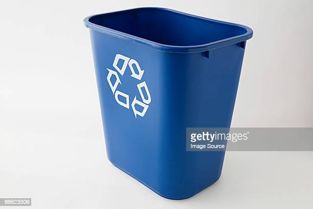 An empty recycling bin