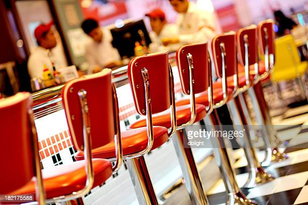 An empty red seats in the restaurant