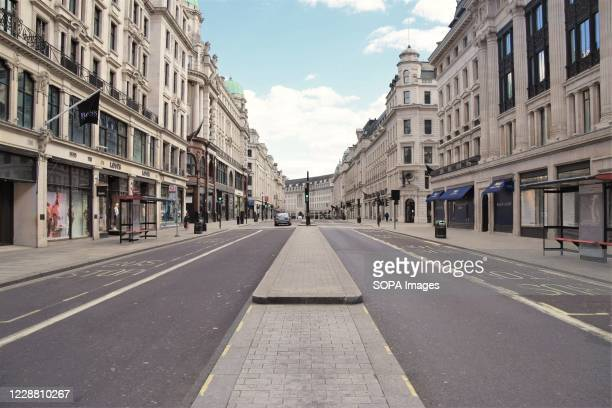 An empty Regent Street devoid of traffic during lockdown. A usually bustling Regent Street resembles a ghost town during the nationwide coronavirus...