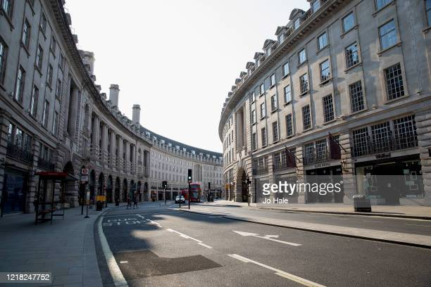 An empty Regent Street looking towards Oxford Circus on April 11, 2020 in London, United Kingdom. The Coronavirus pandemic has spread to many...