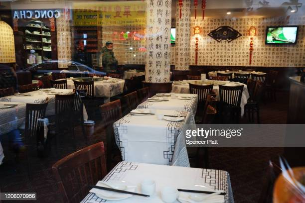 An empty restaurant stands in New York's Chinatown on February 13, 2020 in New York City. Gregg Bishop, commissioner of the Department of Small...