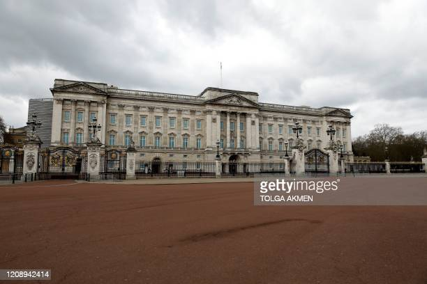 An empty road is pictured outside Buckingham Palace in London on April 2 as life in Britain continues during the nationwide lockdown to combat the...