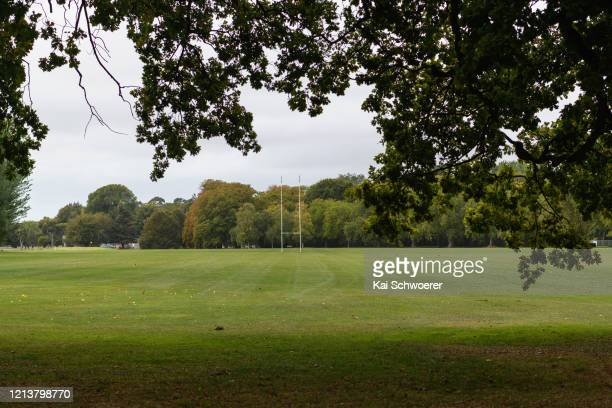 An empty Rugby field is seen at Hagley Park on March 21, 2020 in Christchurch, New Zealand. Sporting codes across New Zealand including rugby have...