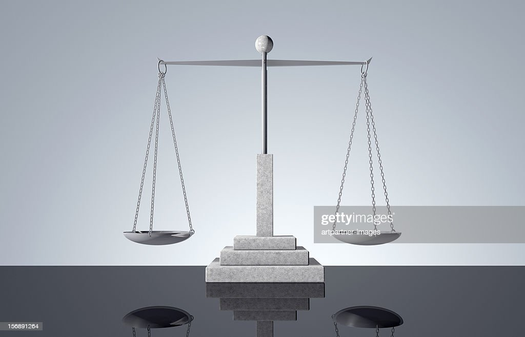 An empty scale in balance : Stock Photo