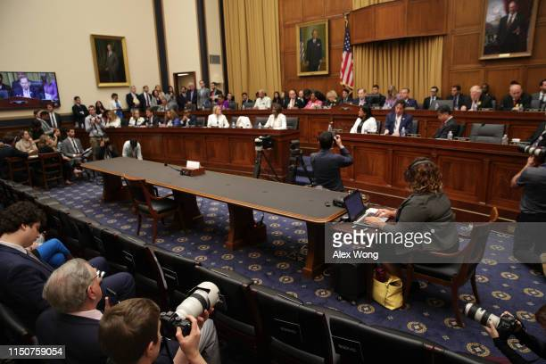 An empty seat at the witness table is seen during a House Judiciary Committee hearing in which former White House Counsel Don McGahn was subpoenaed...