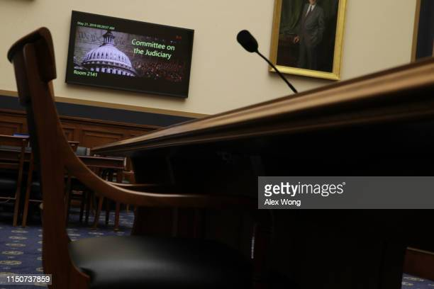 An empty seat at the witness table is seen prior to a House Judiciary Committee hearing in which former White House Counsel Don McGahn was subpoenaed...