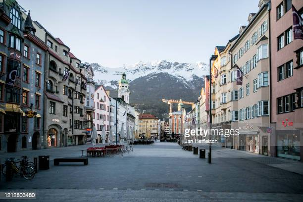 An empty shopping street in the centre of Innsbruck after a curfew was enforced as part of restrictions imposed by the Austrian government to stem...