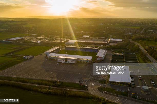An empty Shrewsbury Town stadium the Montgomery Waters Meadow on Saturday 28 March 2020 when the club were supposed to be at home to Blackpool in the...