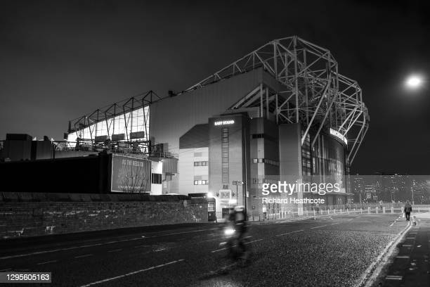 An empty Sir Matt Busby Way before the FA Cup Third Round match between Manchester United and Watford on January 09, 2021 in Manchester, England. The...
