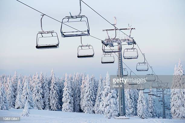an empty ski lift during winter - ski lift stock pictures, royalty-free photos & images