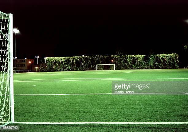 An empty soccer field