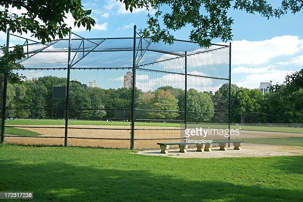 an empty softball field in central park, ny - softball sport stock pictures, royalty-free photos & images