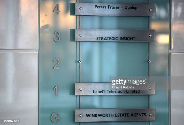 An empty space is shown, that used to be occupied by the signage for the now defunct Cambridge Analytica on May 2, 2018 in London, England.