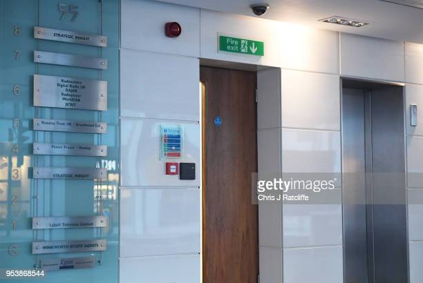 An empty space is shown that used to be occupied by the signage for the now defunct Cambridge Analytica on May 2 2018 in London England