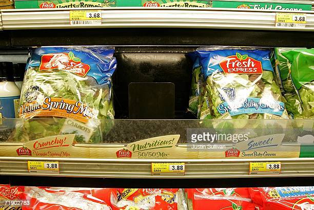 An empty space where bags of salad mix containing fresh spinach was on display is seen at United Market September 15 2006 in San Rafael California...