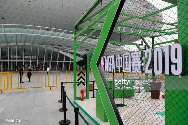 An empty sponsor booth is seen outside the MercedesBenz Arena ahead of NBA Shanghai Game 2019 between Brooklyn Nets and Los Angeles Lakers on October...