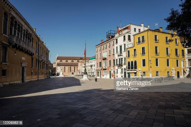 An empty square called Campo Santo Stefano in the historical center of Venice on April 23 2020 in Venice Italy Italy will remain on lockdown until...