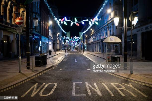 An empty St. Mary Street on December 6, 2020 in Cardiff, Wales. Following a firebreak period that ran from October 23 to November 9 the Welsh...