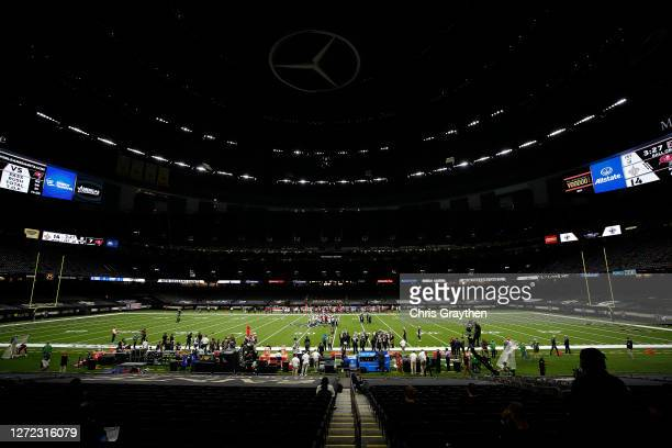 An empty stadium is shown during the second quarter during a game between the New Orleans Saints and the Tampa Bay Buccaneers at Mercedes-Benz...