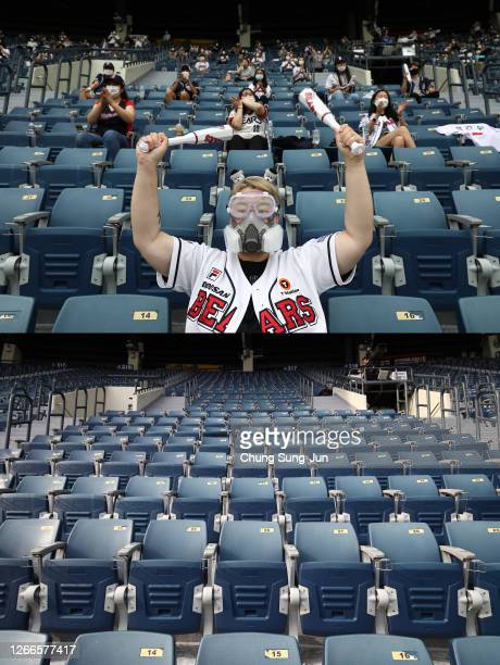 An empty stand is seen during the KBO League game between KT Wiz and Doosan Bears at the Jamsil Stadium on August 16, 2020 in Seoul, South Korea. KBO...