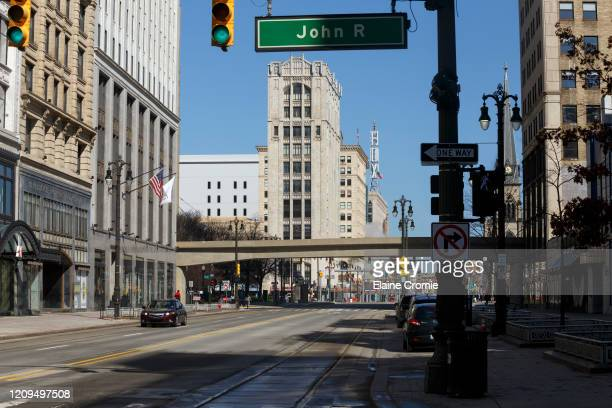An empty street downtown on April 8, 2020 in Detroit, Michigan. In an effort to slow the spread of the coronavirus , Detroit Department of...