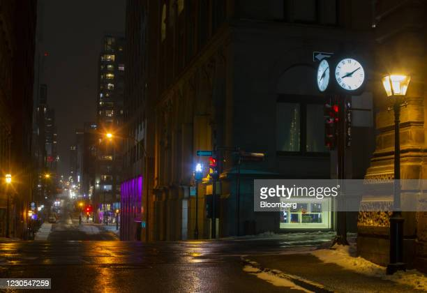 An empty street during curfew hours in the Old Montreal neighborhood of Montreal, Quebec, Canada, on Monday, Jan. 11, 2021. Quebec has implemented a...