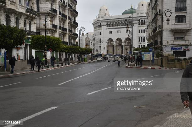 An empty street in the Algerian capital Algiers on March 20, 2020. - A total of 82 cases of coronavirus COVID-19 have been confirmed in Algeria,...