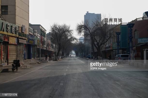 An empty street in Yinchuan downtown after the first cases of corona virus have been confirmed in Ningxia Hui autonomous region. Death toll rise to...