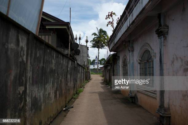 An empty street leading to a mosque on May 25 2017 in Marawi city southern Philippines Gun battles between ISISlinked militants and Filipino troops...