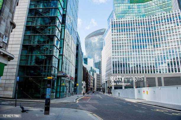 An empty street that would usually be full of people traveling to work in the City of London financial district on March 31, 2020 in London, England....