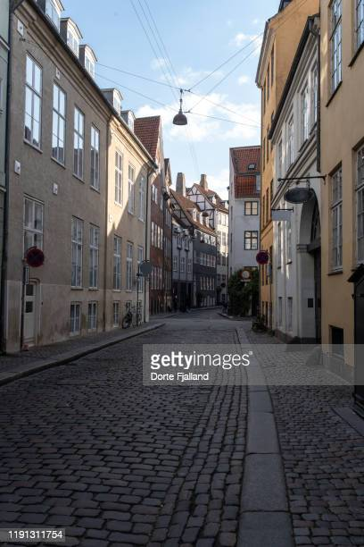 an empty street with cobble stones and old buildings - dorte fjalland ストックフォトと画像