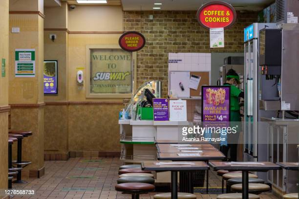 An empty Subway franchise is seen on Swanston Street on September 25, 2020 in Melbourne, Australia. Victoria has recorded 14 new coronavirus cases...