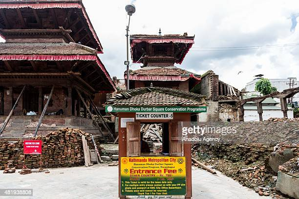 An empty ticket counter at Durbar square, Kathmandu on July 25, 2015. Today marks the 3 month anniversary of the Nepal earthquakes which at last...