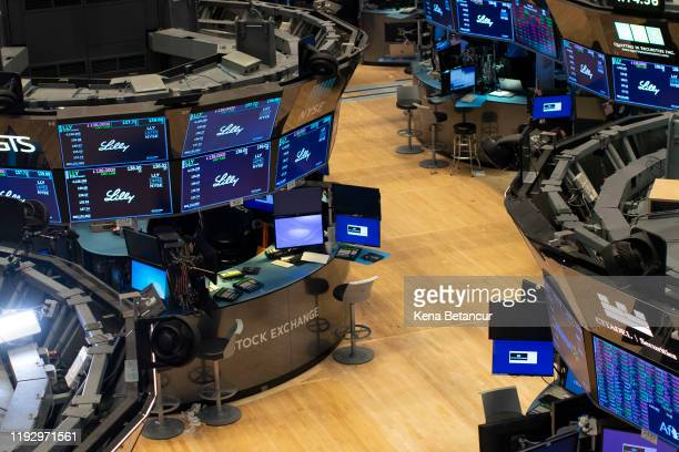 An empty trading floor is seen after the closing of the New York Stock Exchange on January 10, 2020 in New York City. Amid new sanctions on Iran and...
