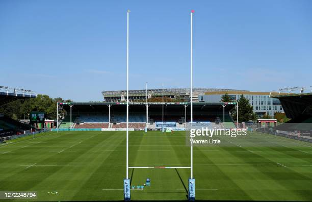 An empty Twickenham Stoop is pictured with Twickenham Stadium in the background ahead of during the Gallagher Premiership Rugby match between London...