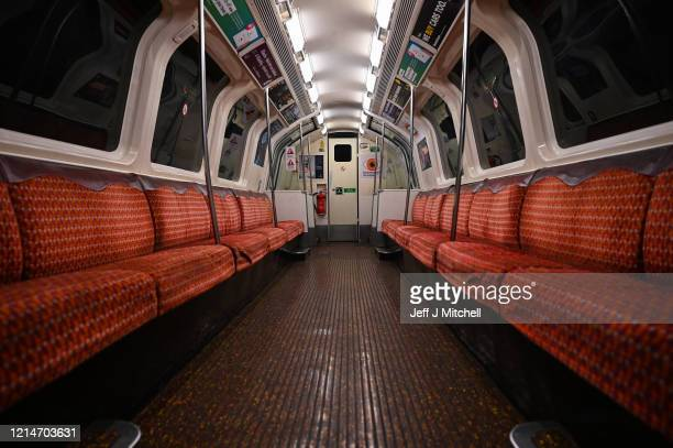 An empty underground train as people are asked to socially distance themselves amid the coronavirus outbreak on March 25 2020 in Glasgow Scotland...