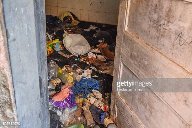 An empty vacated house at Sai Baab Nagar in Dhobi Ghat as people have vacated the place for redevelopment on November 24 2016 in Mumbai India Total...