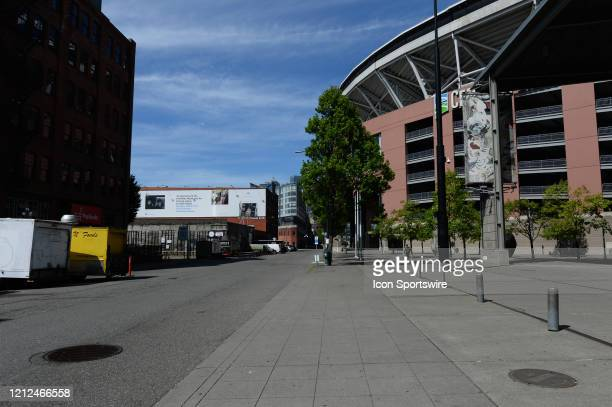 An empty vendor row sits quiet on Occidental Avenue in front of Century Link Field during the Coronavirus pandemic on May 9 2020 in Seattle WA