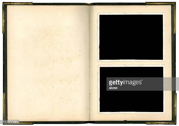 An empty vintage photo album with two free slots in front