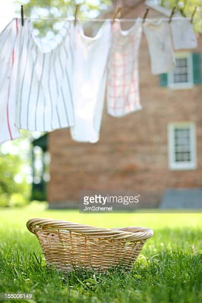 An empty wicker basket beneath an outdoor clothesline