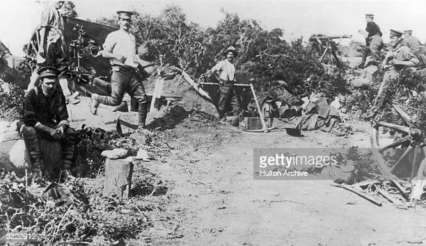 An encampment of British Troops on 'W' beach in the Gallipoli penninsula during World War I 9th June 1915