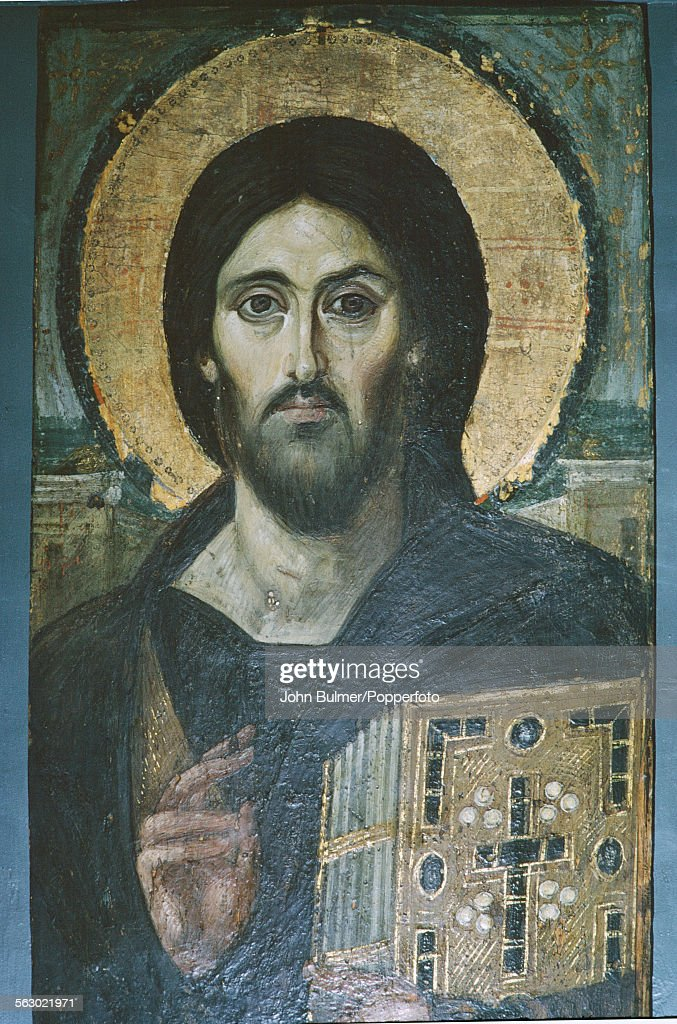 An encaustic on panel icon at Saint Catherine's Monastery, or Santa Katarina, a Greek Orthodox monastery on the Sinai Peninsula in Egypt, 1967. The icon depicts Christ Pantocrator, and is the oldest known example of this specific depiction of Christ.