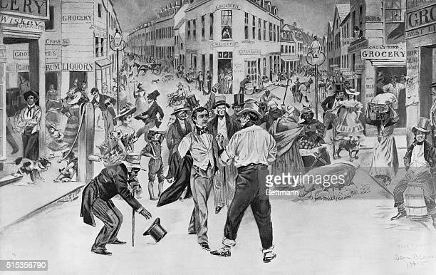 An encounter between a Swell and a 'Bowery Boy' Five Points in 1827