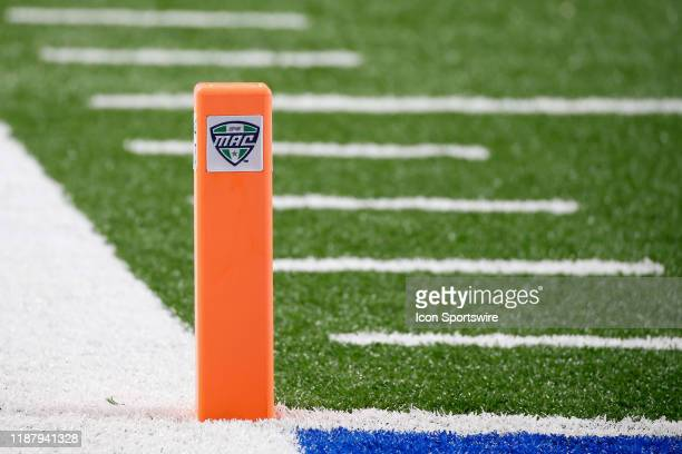 An end zone marker with the MAC logo is seen during the MidAmerican Conference championship game between the Miami RedHawks and the Central Michigan...